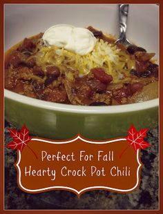 Easy Crock Pot Chili that is perfect for fall. It's one of those quick put togethers and enjoy it in the evening meals. It's super filling too!