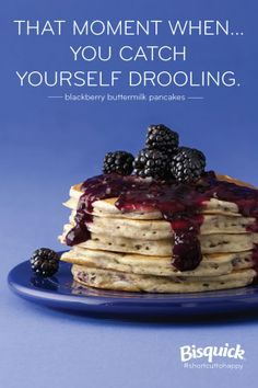 Quick and easy blackberry syrup atop a delish stack of perfect pancakes!