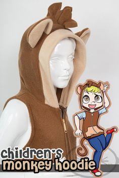 KIDS Monkey Hoodie Costume Vest Jacket Handmade by lemonbrat, $57.99