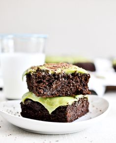 Avocado Brownies with Avocado Frosting via How Sweet It Is