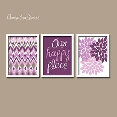 Purple Lilac Lavender iKat Inspired Flower Burst Set of 3 Prints Chevron Quote WALL ART Bedroom Bathroom Baby Nursery Choose Your Quote