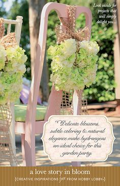 Delciate blossoms, subtle coloring & natural elegance make hydrangeas an ideal choice for this garden party.