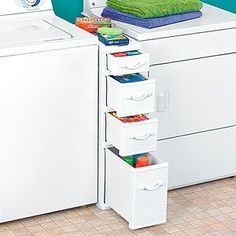 Between washer and dryer storage drawers.