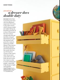 Add more storage to children's dresser by adding CD racks to the sides.