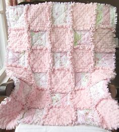 Baby Girl Quilt Rag Quilt Shabby Cottage by LittleTreasureQuilts, $115.00