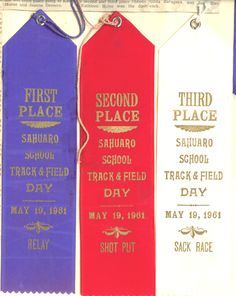Field Day ribbons-- and you EARNED them, no participation ribbons, only 1st-2nd-3rd!
