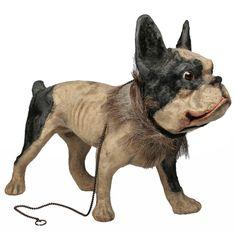 Antique French Papier Mache Bulldog Pull Toy