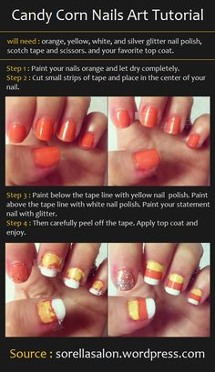 Candy Corn Nails Art Tutorial
