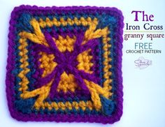 The Iron Cross Granny Square, free crochet pattern from Stitch 11.