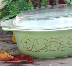 Pyrex Golden Scroll Casserole With Lid 1.50 Quarts 1959 Rare Sage Green Vintage Mid Century Kitchen Bake Ware 1950s USA on Etsy, $39.89