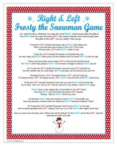 Gift Exchange game - gifts are passed to the left and right as you read this short story. When the story ends, that's the gift you keep. Christmas games.