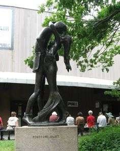 Romeo and Juliet statue outside the Delacorte Theater in Central Park, NYC. <3