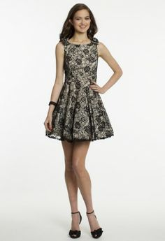 Short Lace Two-Tone Dress with V-Back from Camille La Vie and Group USA