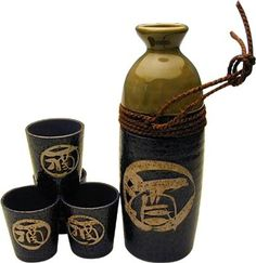 Calligraphy japanese sake set