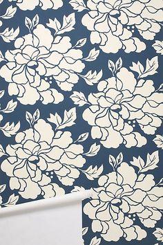 decor, idea, pattern, anthropologie, paeonia wallpap, bathroom wallpaper, wallpapers, powder rooms, accent walls