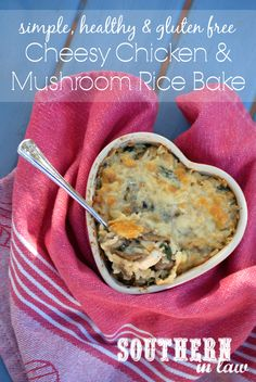 This Cheesy Chicken and Mushroom Rice Bake Recipe is low fat, gluten free, egg free/eggless, clean eating friendly and so easy to make! It uses greek yogurt for a creamy casserole that tastes totally decadent.