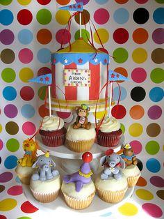 Circus cupcake tower