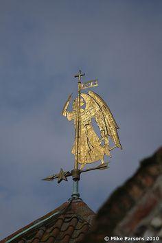 Unusual gilded weathervane