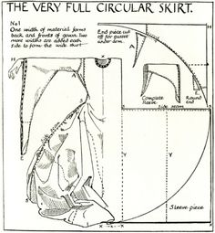 This construction would put the weight-bearing side-seam on the straight-of-grain, eliminating bias sag! dress patterns, full skirts, skirt patterns, circle skirts, circular skirt, circl skirt, renaissance costume pattern, medieval dress pattern