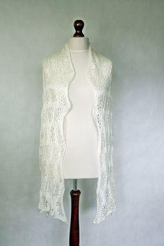 Wedding scarf hand knit shawl white scarf white by KnitwearFactory, $134.00