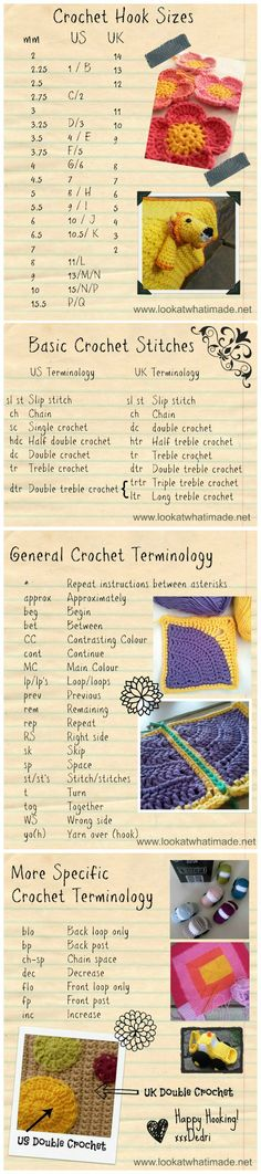The most useful chart any crocheter can have! Crochet Hook Sizes (US, UK and metric) and Crochet Terminology (US and UK). I use the crochet hook chart ALL the time when designing. Printer-friendly version available (both as an image and as a PDF). ❥Teresa Restegui http://www.pinterest.com/teretegui/❥