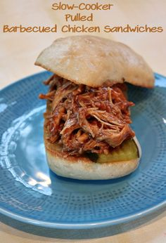 Slow Cooker Pulled Barbecue Chicken Sandwiches - Easy, family-friendly dinner idea! :: from RecipeGirl.com