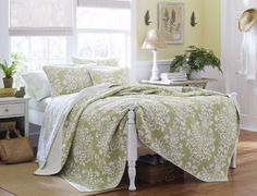 Repin if you like this Laura Ashley Rowland Quilt Set, Full/Queen, Sage