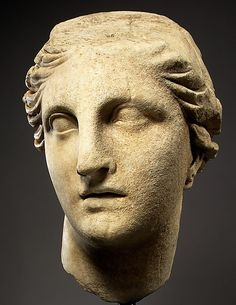 Marble head of Athena. Hellenistic, ca. 200 B.C. Greek. The Metropolitan Museum of Art, New York. Purchase, Lila Acheson Wallace Gift, 1996 (1996.178). The dynamic movement and passionate expression of this colossal head mark it as a rare example of monumental art from the late third to the second century B.C., when an exaggerated baroque style prevailed in some areas of the Mediterranean.