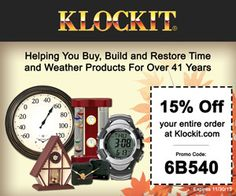 Make a DIY Wood clock and get 15% your entire @Klockit  purchase now through this link thru the end of November.   #clockparts #clockcoupons #coupons #diyclock