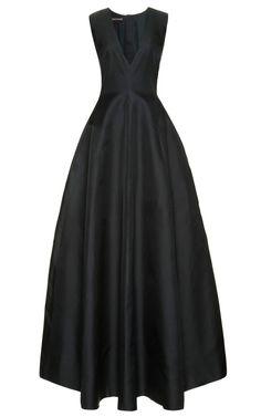 Shop Silk-Gazar+Deep+V-Neck+Gown+by+Rochas+Now+Available+on+Moda+Operandi