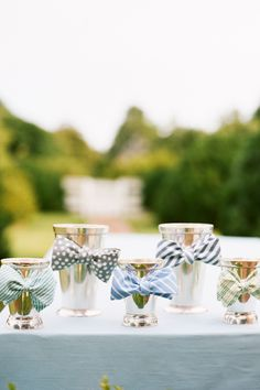 Fabric bow ties on mint julep cups boy baby showers, cups, father day, bow ties, beau bar, boy shower, fabric bows, centerpieces, parti