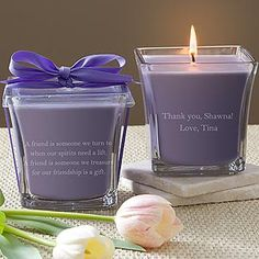Express your appreciation to your bridesmaids with this wonderful scented candle featuring your personalized sentiment that they'll...
