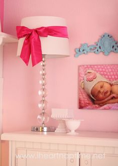 DIY satin bow lampshades - perfect for a little girl's nursery!