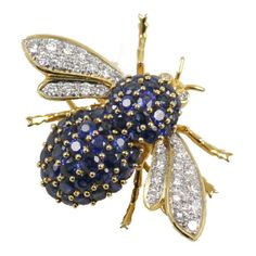 Unknown - Sapphire Diamond Bumble Bee Brooch - The Emporium, Ltd found on Polyvore bumbl bee, bee knee, sapphir diamond, bee fli, bee earring, bee brooch, blue sapphir, bumble bees, costum jewelri