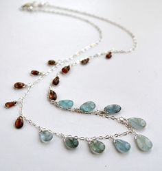 Moss Aquamarine and Andalusite Fringe Necklace by WhimsybyKT, $91.75