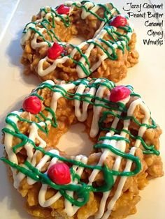 Recipe For Peanut Butter Caramel Christmas Cornflake Wreath Cookies