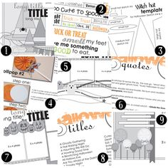 Awesome scrapbooking download of Halloween sketches, embellishments, titles, quotes, printables and much more by Allison Davis