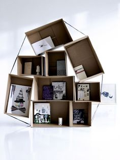 old boxes, cardboard boxes, interiors, shelves, shelving, display, storage ideas, rum, cardboard crafts