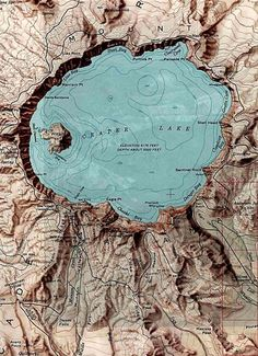 Crater lake OR. Elevation mapping, colors etc