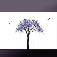 Abstract Modern Tree Art Painting 36x24  Original by wostudios, $129.00
