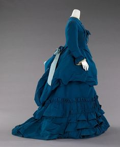 Blue silk afternoon dress, side view.  Charles Frederick Worth, French, ca. 1872.