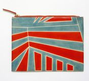 For once, not flagrant. This fabulous blue and orange clutch is made of goat leather using traditional techniques from my native Bengal. The colours and designs are amazingly modern/futuristic, and at £34 it's an absolute steal. cotton, clutch blue, orang, zip clutch, clutches, design, blues, black, clutch bags