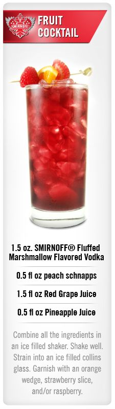 Smirnoff Fruit Cocktail drink recipe with Smirnoff Fluffed Marshmallow flavored vodka, peach schnapps, red grape juice and pineapple juice. #Smirnoff #drink #recipe