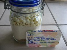 Pink Polka Dot Cookies (Gift Mix in a Jar) from Food.com: Gift jar directions at bottom of the recipe - add onto a recipe card and attach to the gift! Or skip the gift making and indulge yourself with this treat!! NOTE: This recipe is to be prepared one QUART size wide mouth canning jar and will yield 3 dozen cookies.
