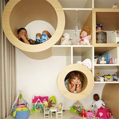 A cool kids bookshelves that they can play in!