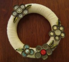 Button and Bottle Cap Wreath