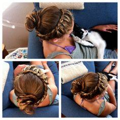 this is so cute! french braids, braid headband, crown, long hair, messy buns, beauti, braid hair, hairstyl, headbands