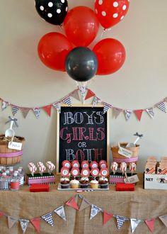 Great baseball themed gender reveal dessert table #genderreveal #baseball #party