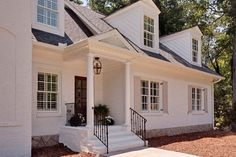 Painted brick houses: what color to paint the brick Color Combo, Paint Brick House, Painted Houses, White Brick House, House Paint Colors, Atlanta, Painted Brick Houses, Bm White, White Painted Brick House