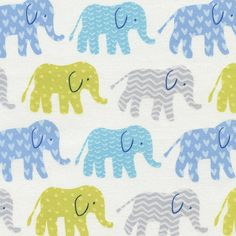 Fabric... Organic Elephants in Blue by Timeless Treasures
